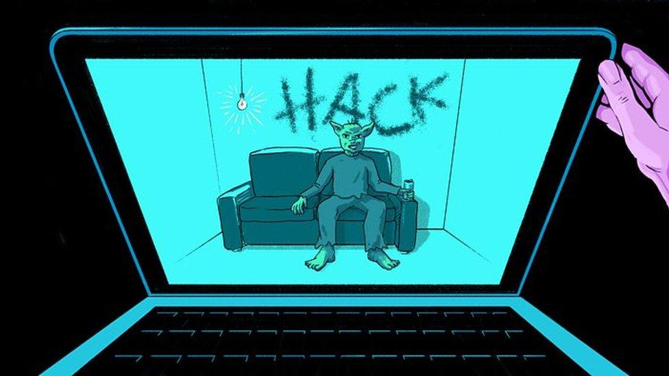 ilustración, hacker