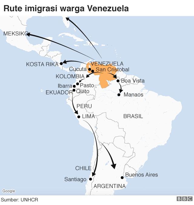 peta pengungsian venezuela