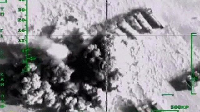Footage shot from plane of airstrike on fuel tankers
