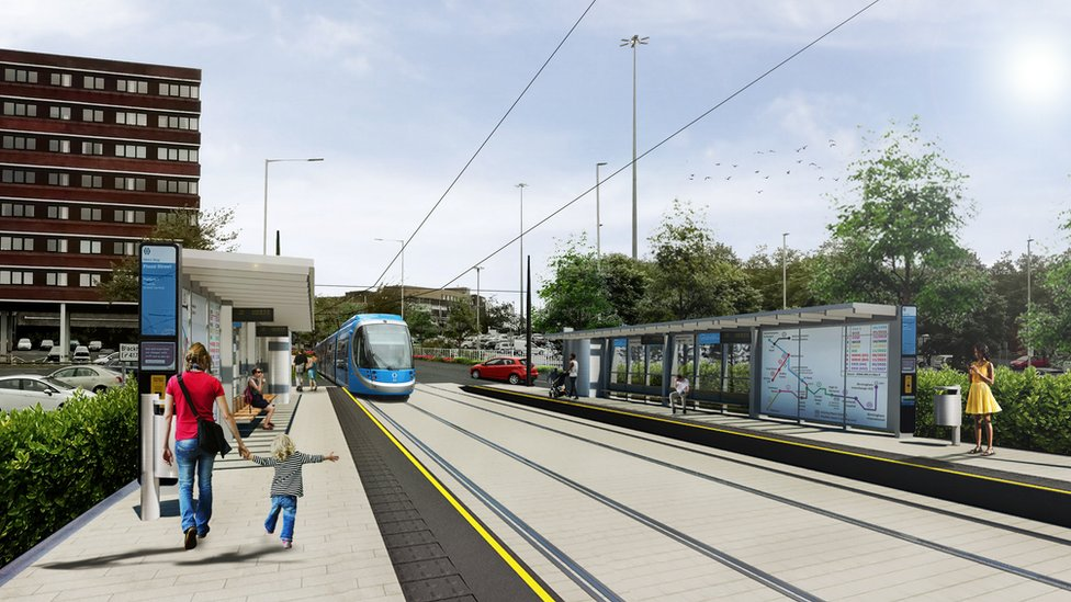 A CGI of how the Metro will look in Flood Street, Dudley town centre