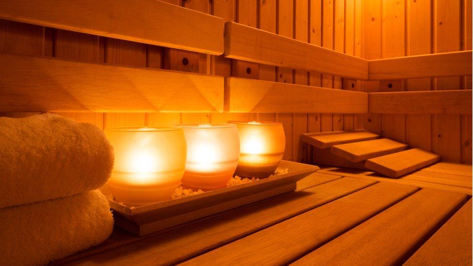 Candles in a sauna