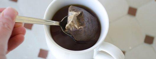 A tea bag in a mug