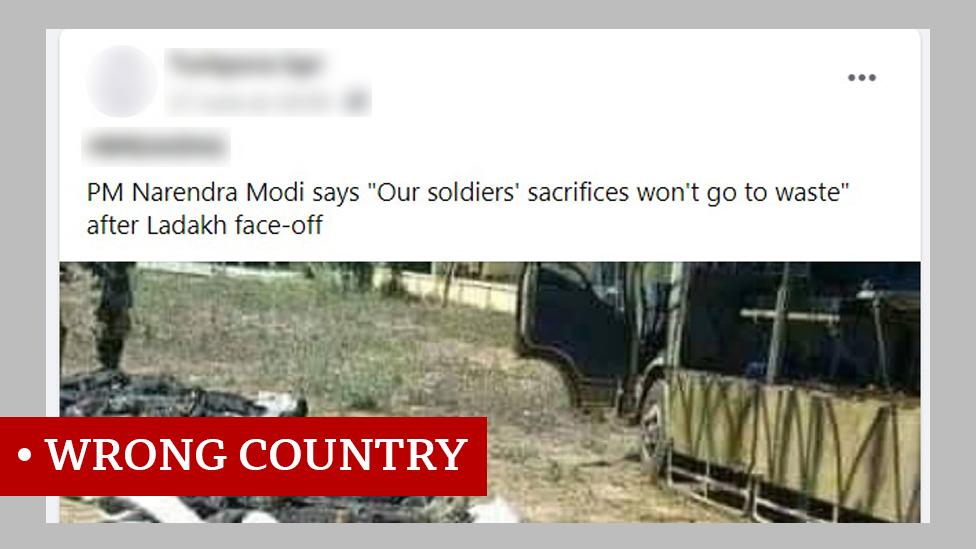 視頻上方文字: 拉達克隊之後印度總理莫迪稱「我們的士兵不會枉死」