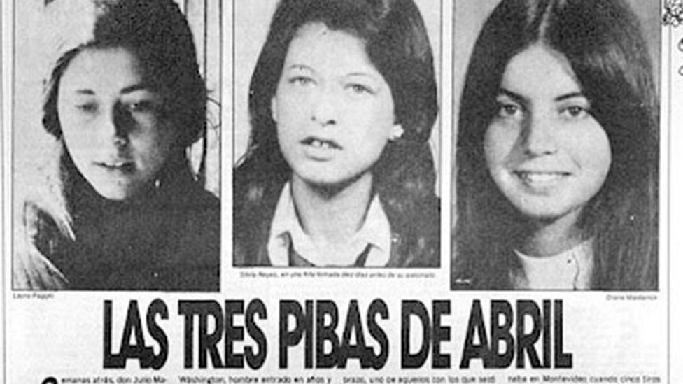 Laura Raggio, Silvia Reyes, -ambas de 19- y Diana Maidanik, de 22 en un artículo de diario de la época