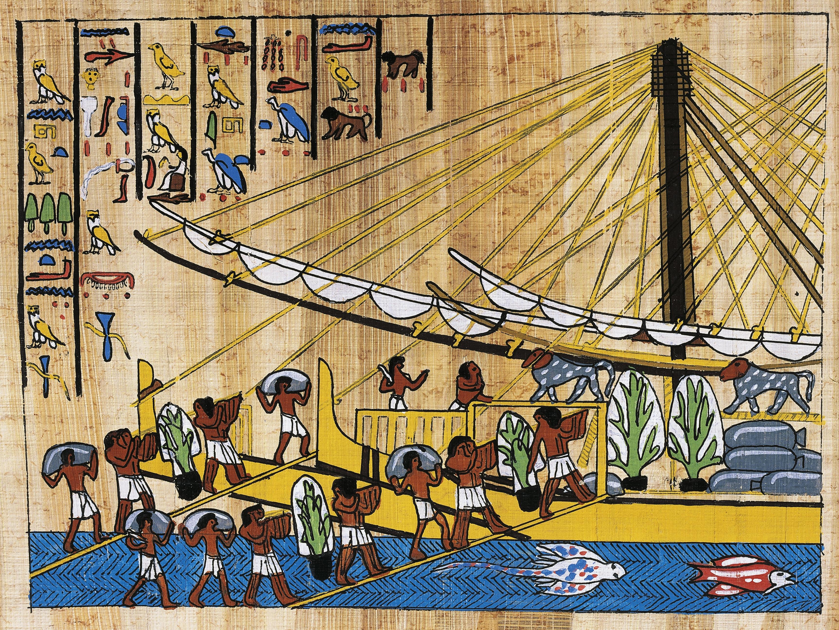 En este papiro está reconstruido un relieve del templo de Deir el-Bahari, que muestra el momento en el que están cargando uno de los barcos de la expedición de Hatshepsut en la Tierra de Punt con los tesoros que llevarían a Egipto.