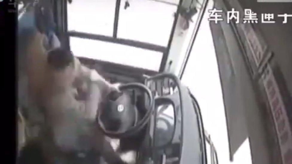 Kadrajda bulunmayan bir kadın şoföre vuruyor, şoför de karşılık veriyor