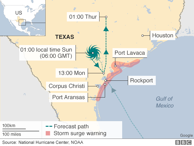 map showing path of Harvey