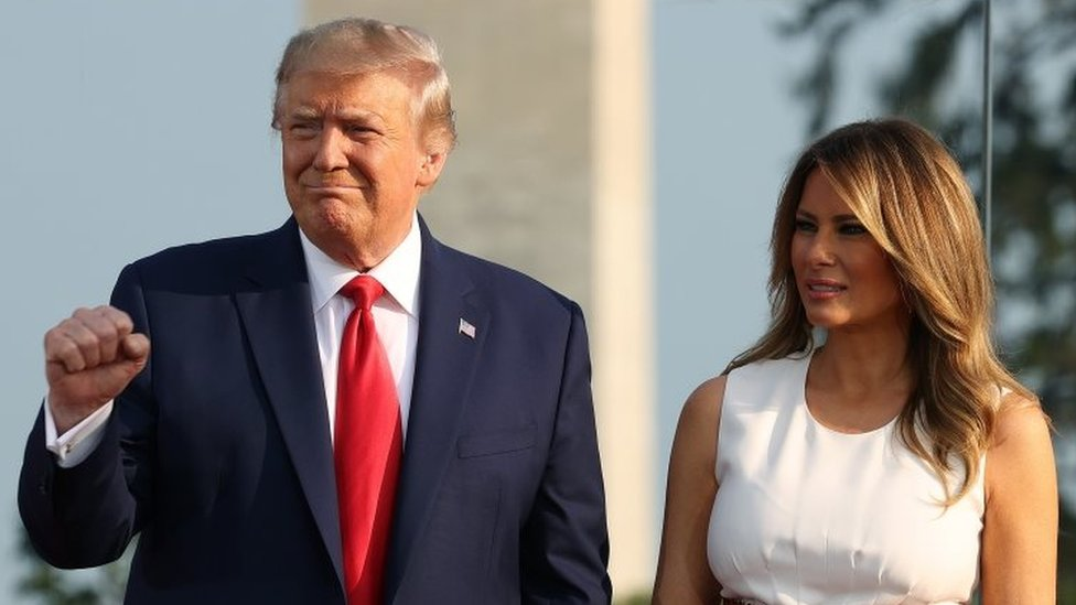 President Donald Trump and his wife, US First Lady Melania