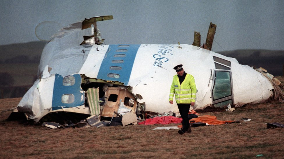 Wreckage of the airliner that came down over Lockerbie