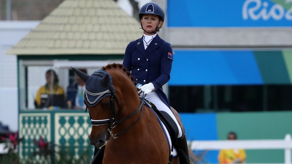 Julie Brougham of New Zealand and her horse compete at Rio
