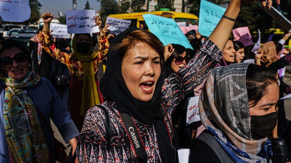Manifestación en Kabul.