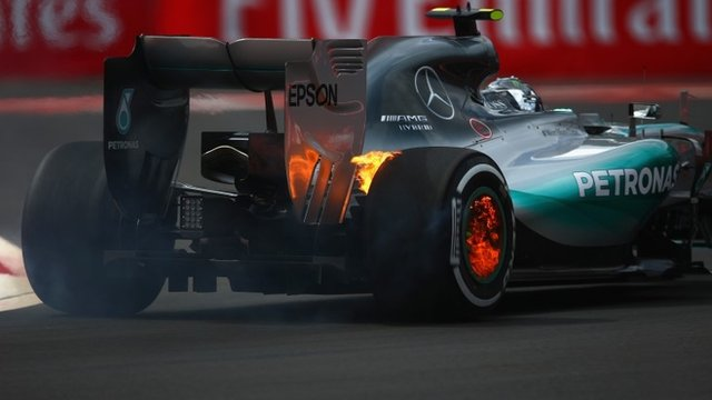 Nico Rosberg's wheels catch fire in Mexico
