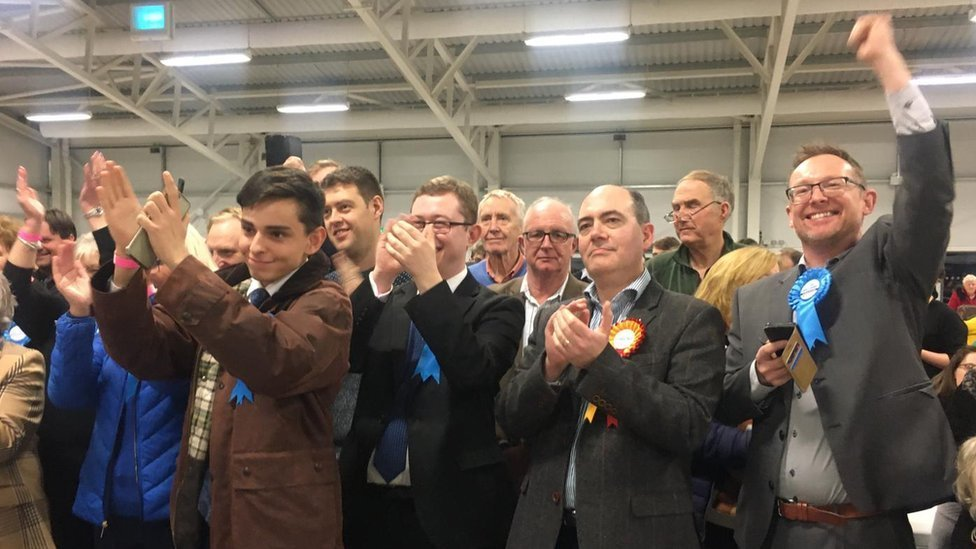 Conservative supporters celebrate victories at the count in Builth Wells