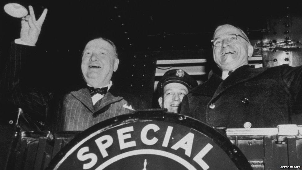 Winston Churchill and Harry Truman in 1946