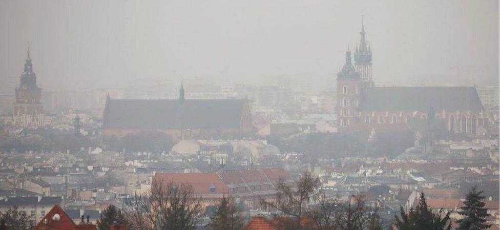 Krakow in smog, 16 Dec 20
