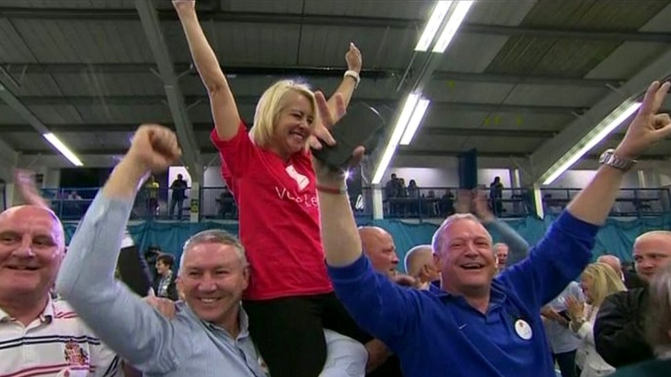 Vote Leave supporters celebrate in Sunderland