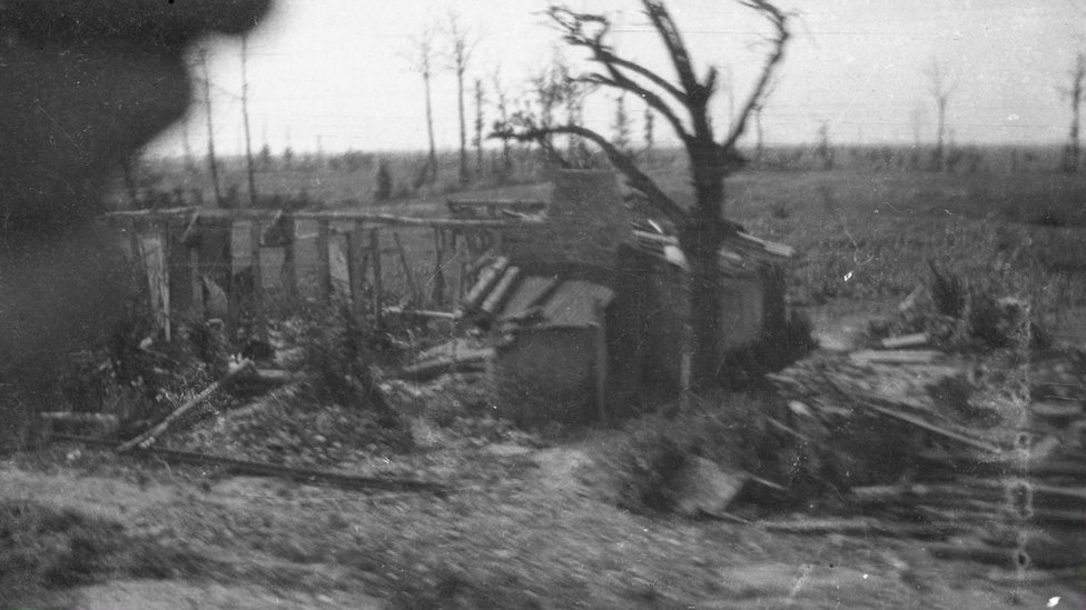 Photo of a battlefield in northern France in 1919