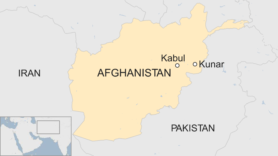 A map showing the location of Kunar province in Afghanistan