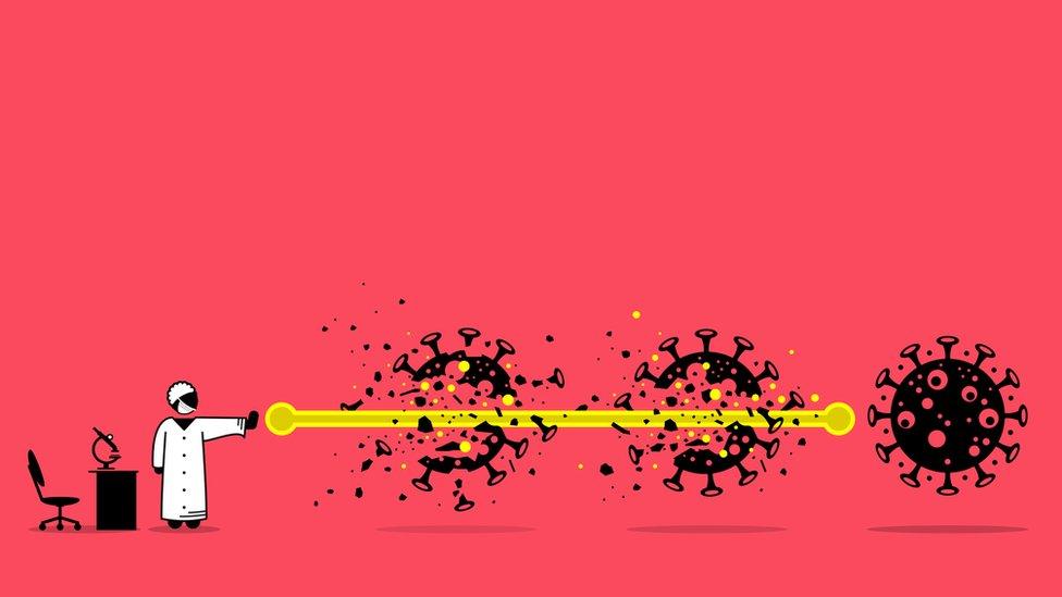 Ilustración que muestra a un profesional de salud lanzando una especie de rayo que atraviesa tres moléculas de coronavirus.