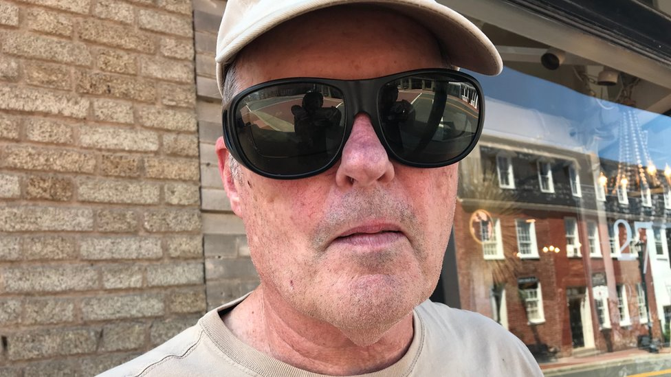 John Hunter, shown in Leesburg, says the president's tweets are misunderstood - standing