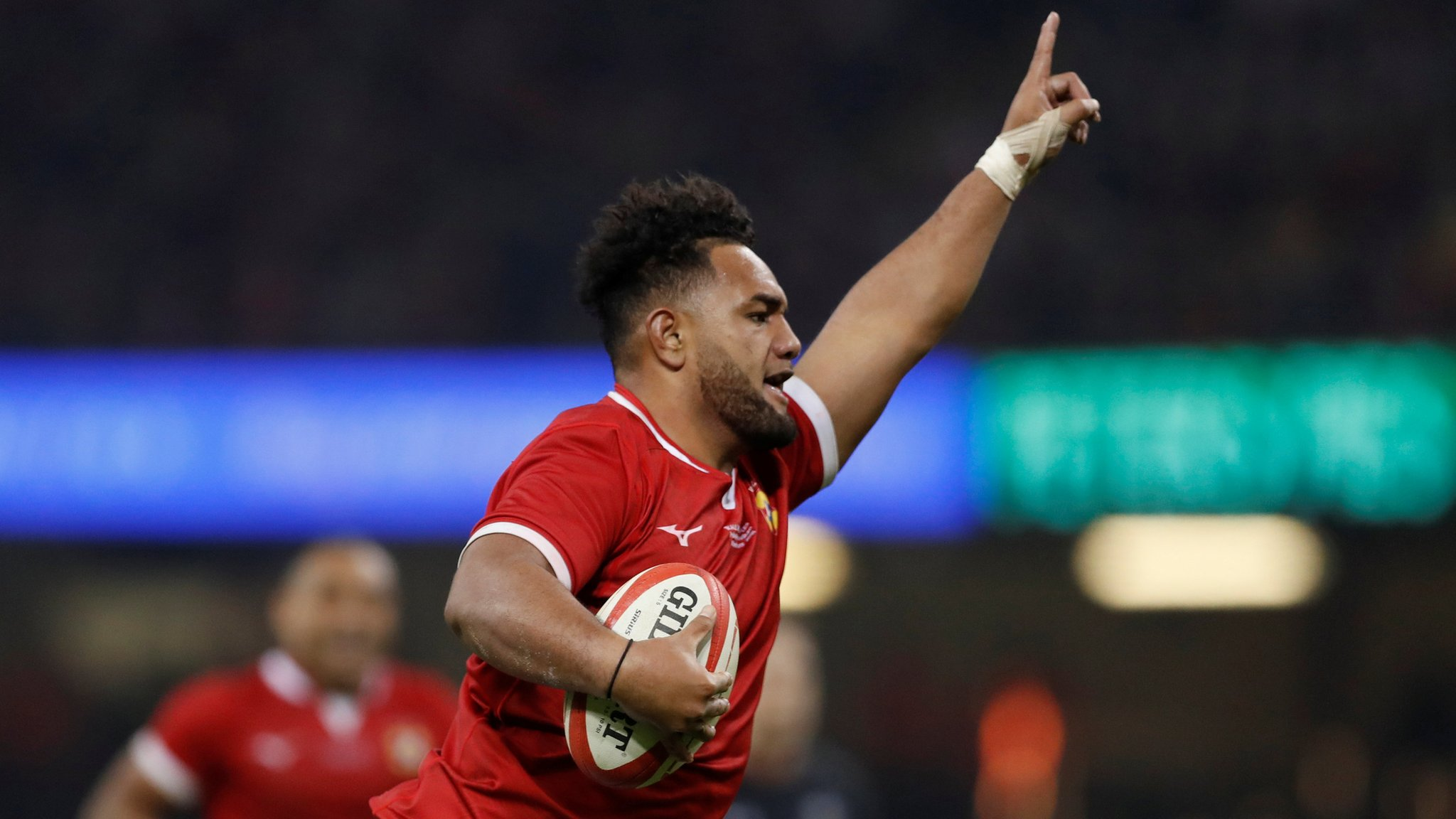 Wales v Tonga: Sione Vailanu races clear for try