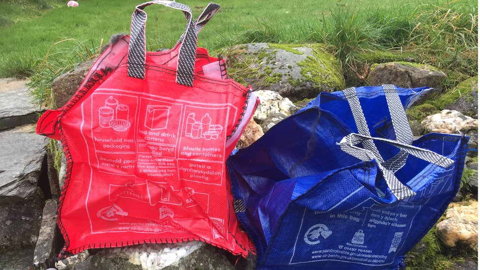 Two of the new Pembrokeshire recycling bags
