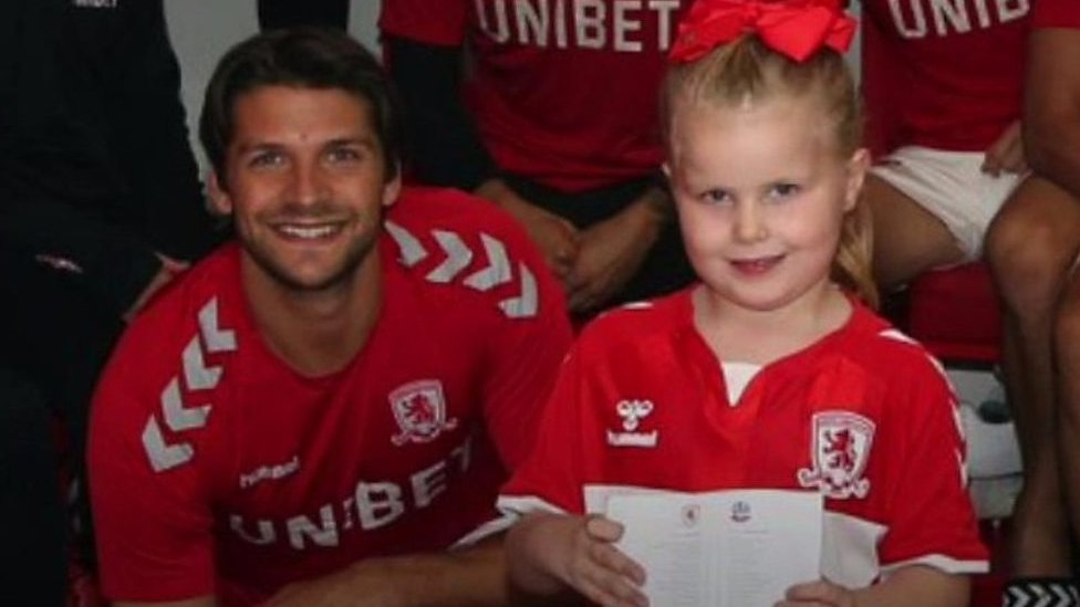 Middlesbrough FC mascot Darcy fulfils dream to meet team