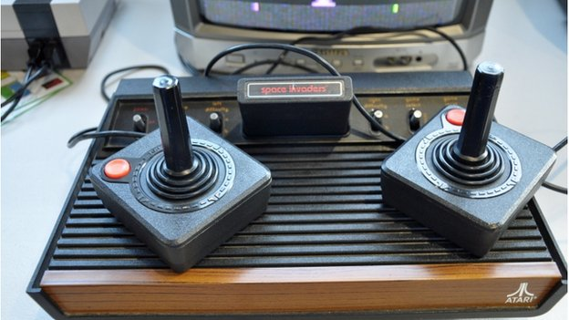 Atari console with space invaders