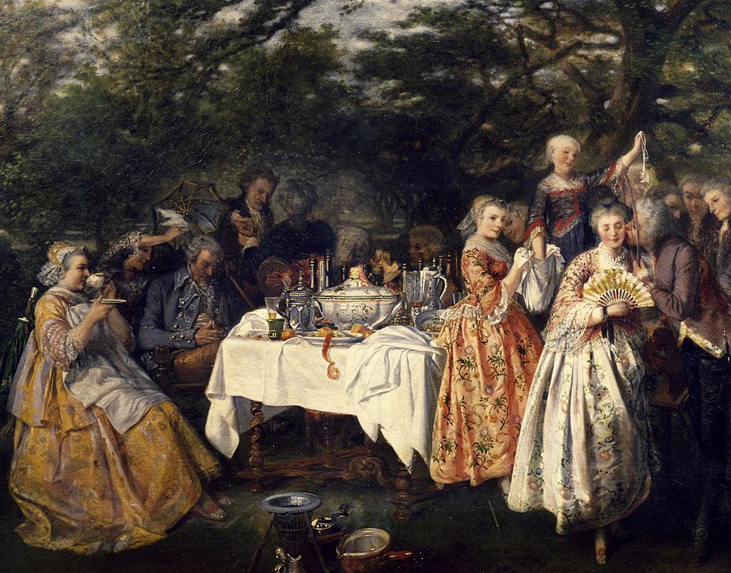 Picnic en el campo, en el jardín de una posada en las afueras de Estrasburgo, ca 1750, por Theophile Schuler (1821-1878).