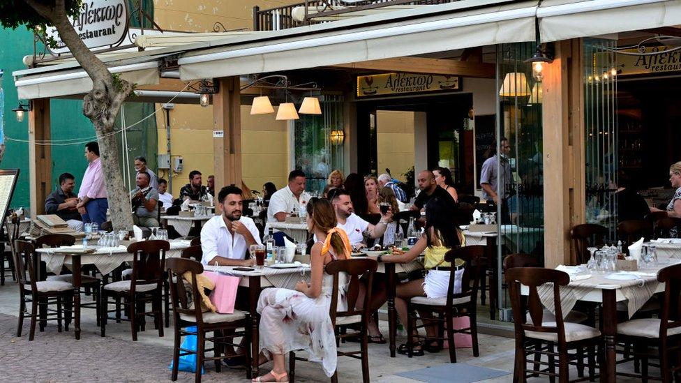 A restaurant on the Greek island of Zante