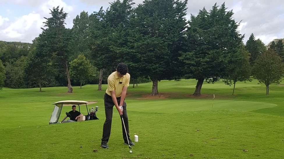 Joe Rooney teeing-off at County Armagh Golf Club
