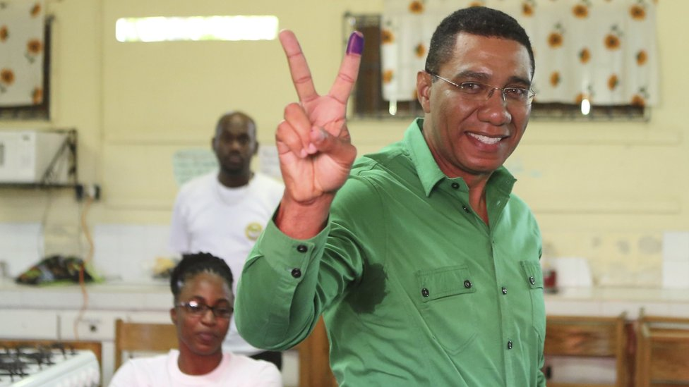 Mr Holness after casting his vote at a polling station during general election in Kingston, Jamaica February 25, 2016