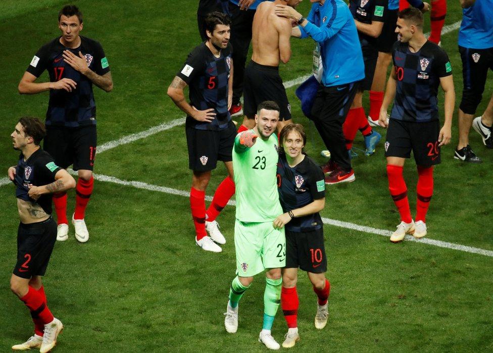 La emoción de los croatas al pasar a la semifinal era indisimulable.