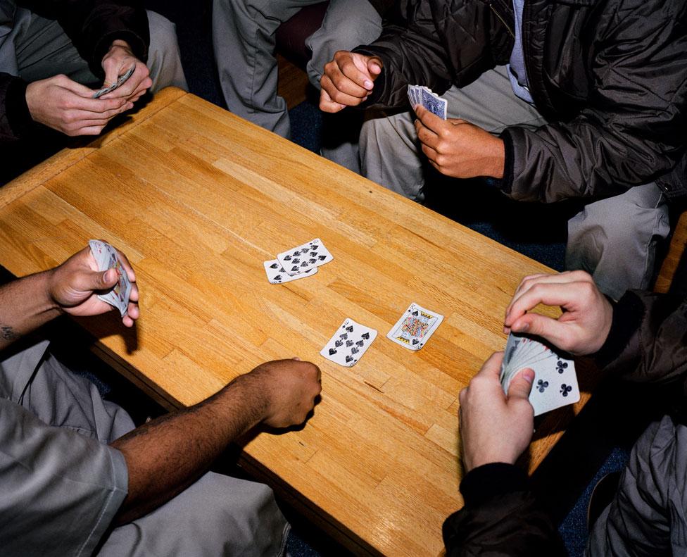 Card game at Nebraska Correctional Youth Facility, Omaha