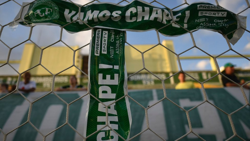 Tributes to players of Brazilian team Chapecoense at the Arena Conda stadium in Chapeco, Brazil, on December 1, 2016.