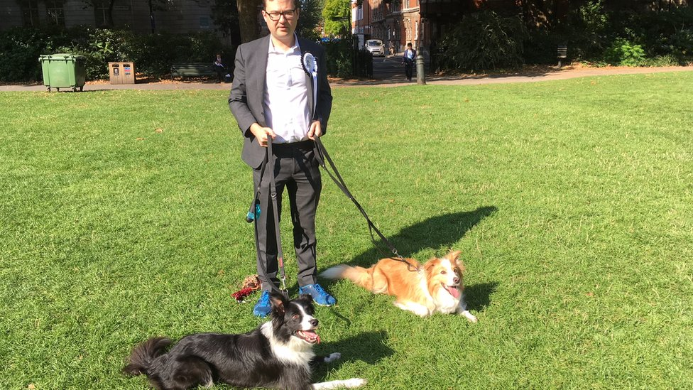 Labour MP Alex Norris, with Boomer and Corona