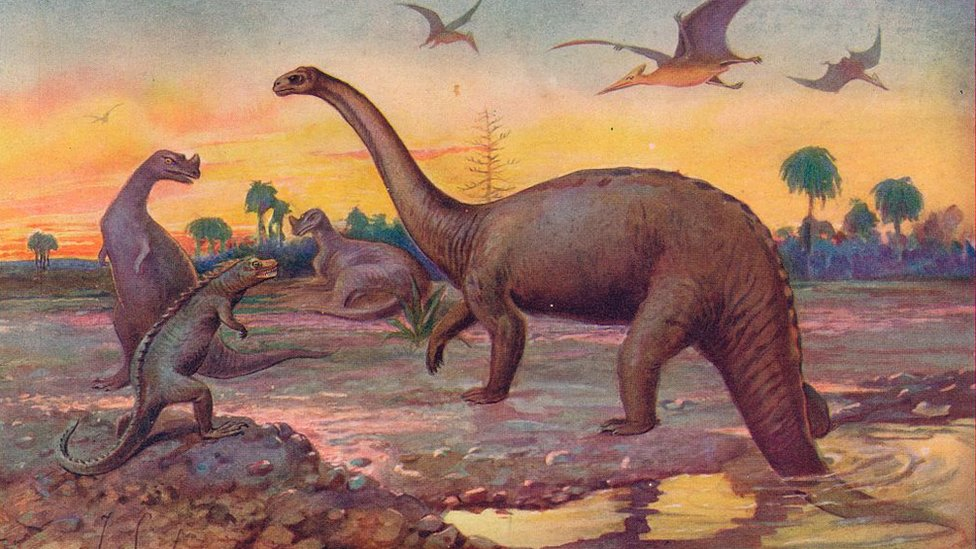 Representación de la era de los dinosaurios.