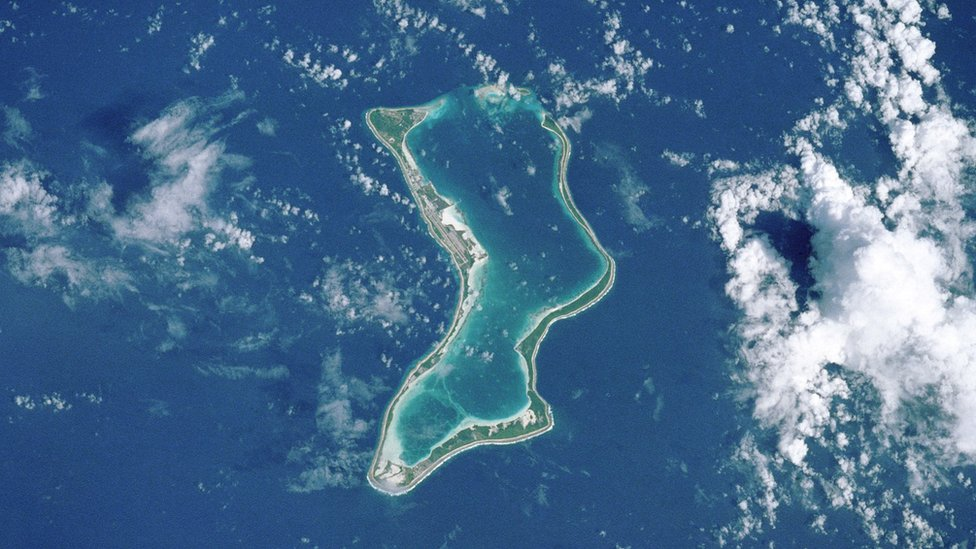 Diego Garcia, the largest of the Chagos Islands, where there is now a UK/US military airbase