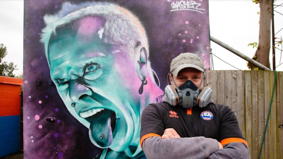 Mural of Keith Flint with artist Gnasher