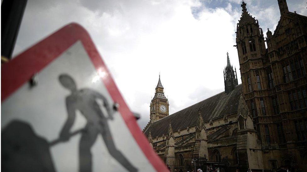 roadwork sign outside parliament