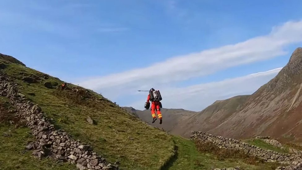 Richard Browning of Gravity Industries demonstrates the company's flight pack in a test in England's Lake District in September 2020