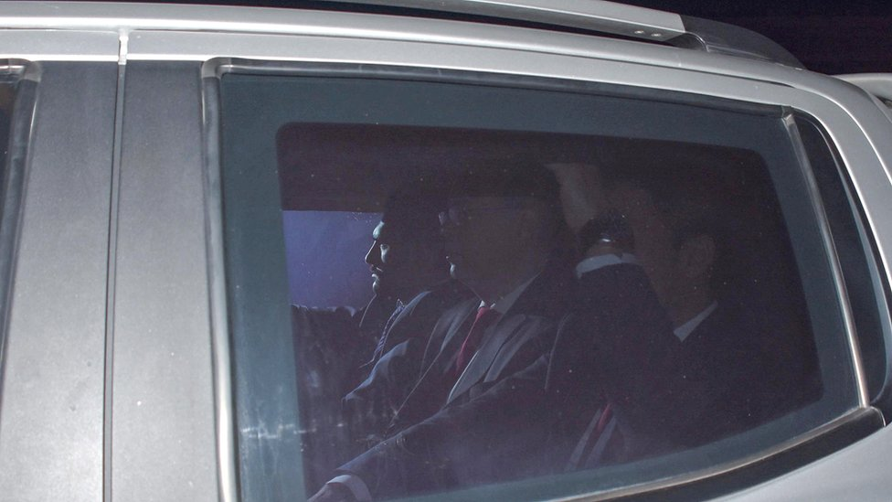 Andrew Brunson, accompanied by Turkish security officers, arrives at the court in Izmir, Turkey.
