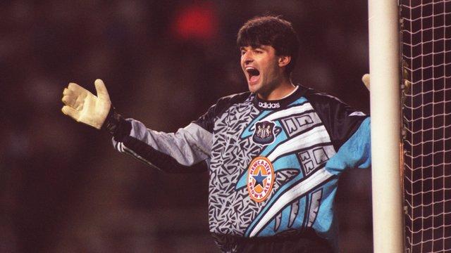 Former Newcastle goalkeeper Pavel Srnicek in action v Man Utd