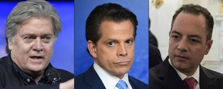 White House adviser Steve Bannon, Anthony Scaramucci and ex-White House chief of staff Reince Priebus