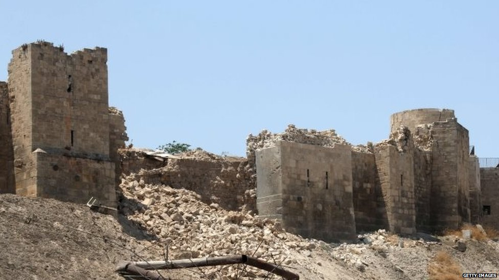 A damaged wall of Aleppo Citadel following a reported explosion the previous night in a tunnel near the monumental 13th-Century fortress. 12 July 2015