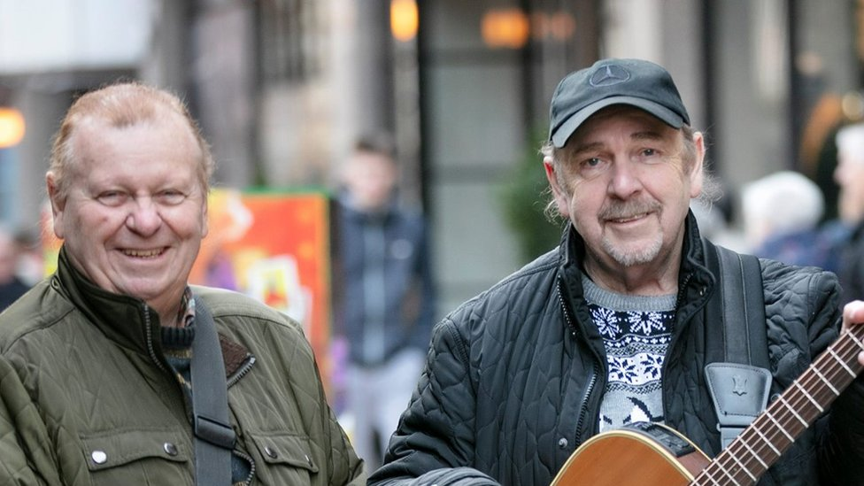 Eddie and George Furey busked in Belfast city centre ahead of their most recent NI shows