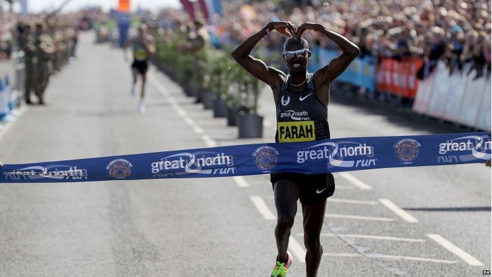 Mo Farah Wins Great North Run2016