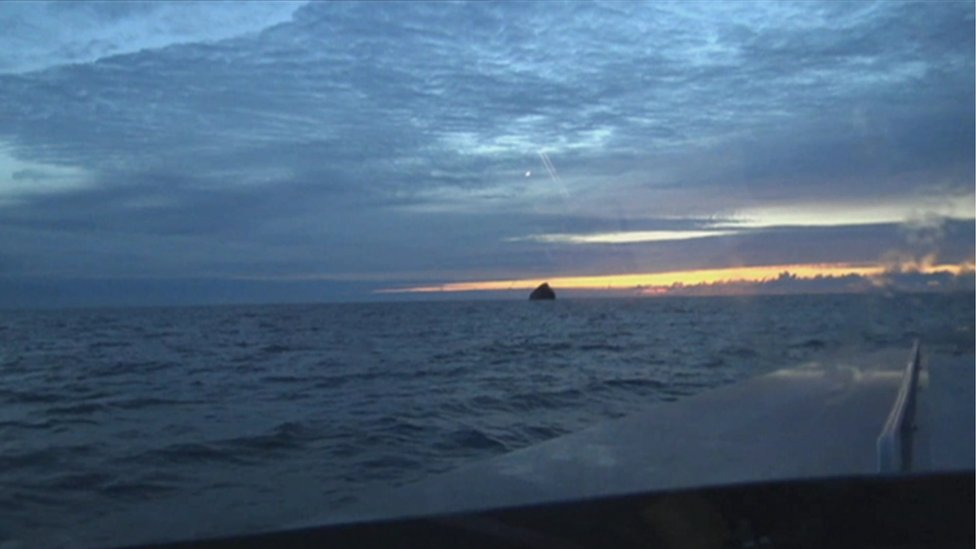 A fishing crew's view of Rockall in the distance