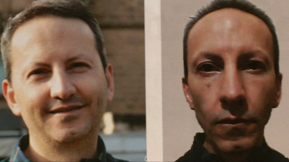 A photo composition shows Ahmadreza Djalali before and after prison in Iran