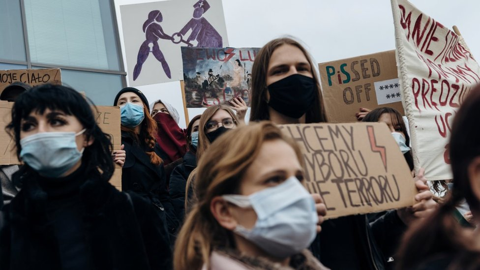 Demonstrators, including students and employees of a local university, hold a protest against the ruling by Poland's Constitutional Tribunal that imposes a near-total ban on abortion, in Gdansk
